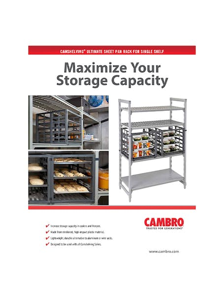 Ultimate Sheet Pan Rack for Single Shelf Spec Sheet (PDF only)